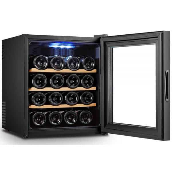מקרר יין 16 בקבוקים דיגיטלי UV WINEBAR דלת מראה כהה+מדפי עץ