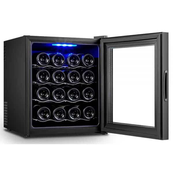 מקרר יין 16 בקבוקים דיגיטלי UV Winebar דלת מראה כהה