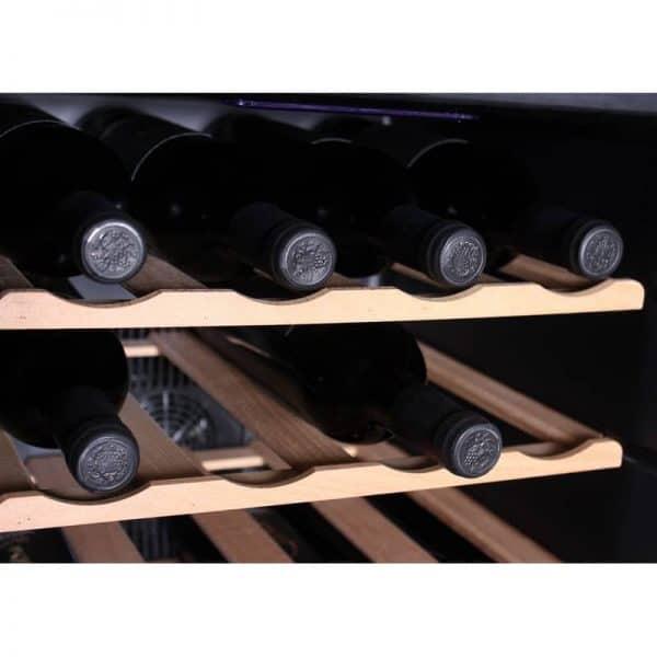 מקרר יין 28 בקבוקים דיגיטלי UV Winebar דלת מראה כהה + מדפי עץ