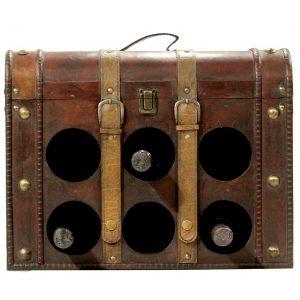 מזוודה ל 6 בקבוקים יין מעץ עתיק עם מגש נפתח
