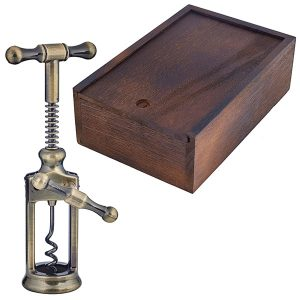 פותחן יין רטרו מנחושת בקופסאת עץ