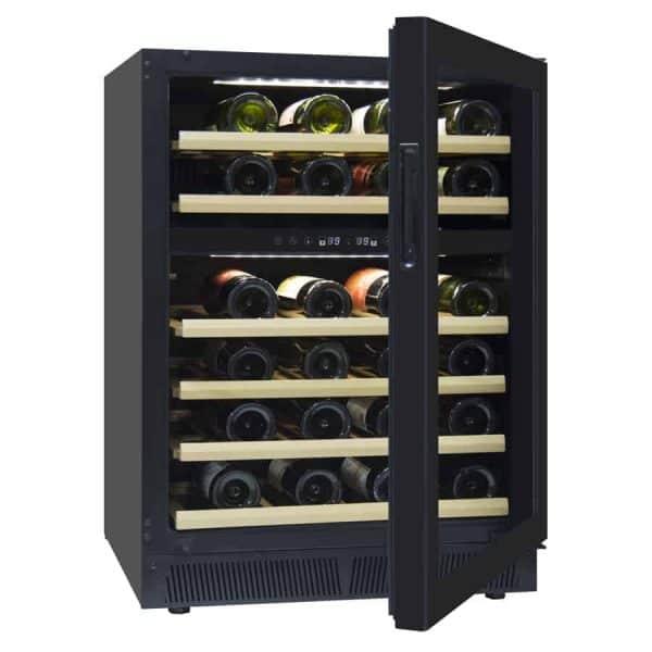 מקרר יין מדחס 46 בקבוקים 2 אזורי קירור אינטגרלי עם מדפי עץ. דגם JC-145B