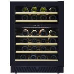 מקרר יין 154 בקבוקים אינטגרלי, שני אזורי קירור, עם מדחס ומדפי עץ. דגם VI180D.